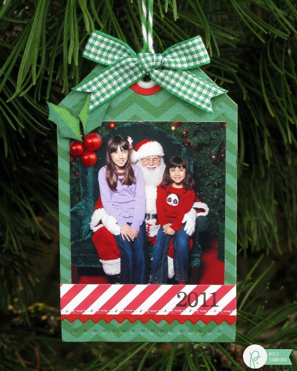 Christmas Photo Tag Ornament by Mendi Yoshikawa using the #HomeForChristmas collection from @PebblesInc. @SnippetsByMendi