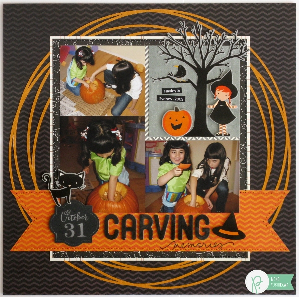 Halloween Layout featuring Circle Background created by Mendi Yoshikawa using the #Thirty-One collection from @PebblesInc. @SnippetsByMendi