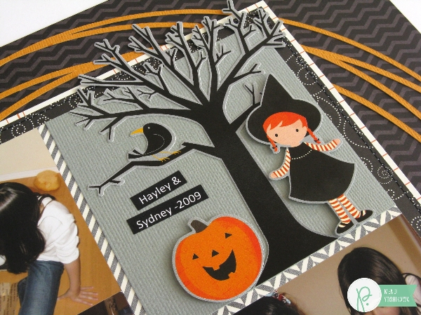 A Halloween Layout created by Mendi Yoshikawa using the #Thirty-One collection from @PebblesInc. @SnippetsByMendi