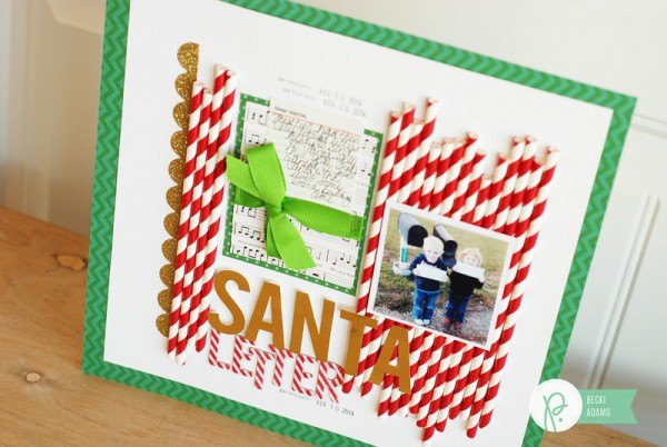 A Christmas layout created by @jbckadams for @pebblesinc featuring paper straws