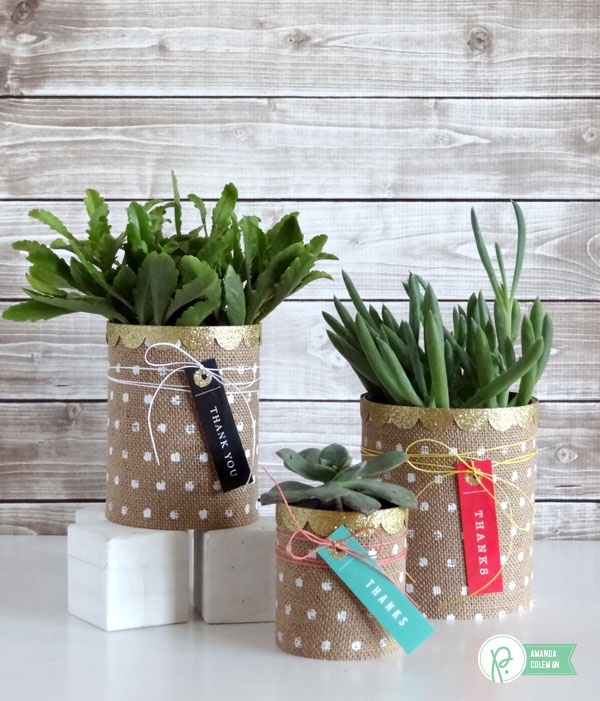 Burlap Succulent Planters by @popperandmimi using @PebblesInc Home+Made collection