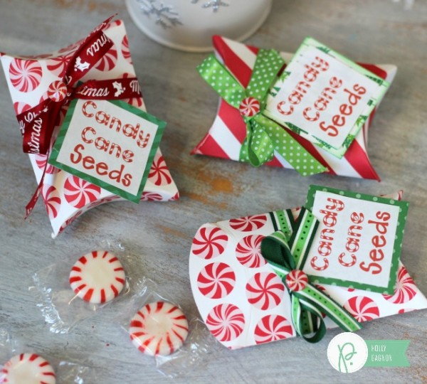 Candy Cane Seeds Pillow Boxes made with @pebblesinc Home for Christmas collection and @wermemorykeepers pillow box punch board by @ribbonsandglue