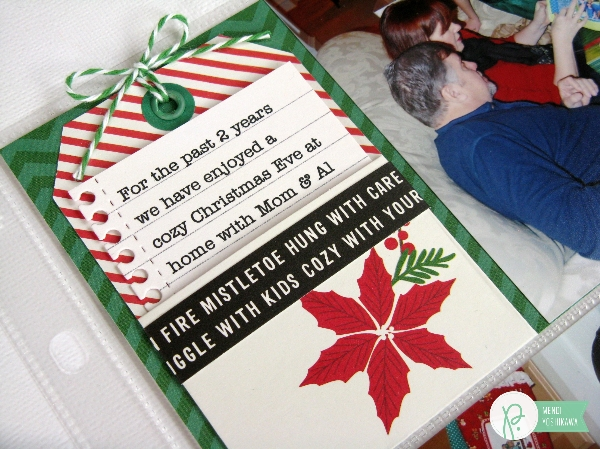 Holiday Pocket Page by Mendi Yoshikawa using the #HomeForChristmas collection from @PebblesInc. @SnippetsByMendi