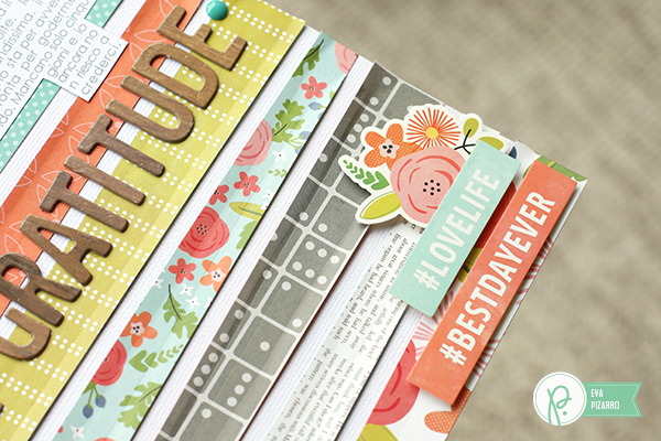 Layout with journaling in a shape by @evapizarrov using #HappyDay Collection by @pebblesinc