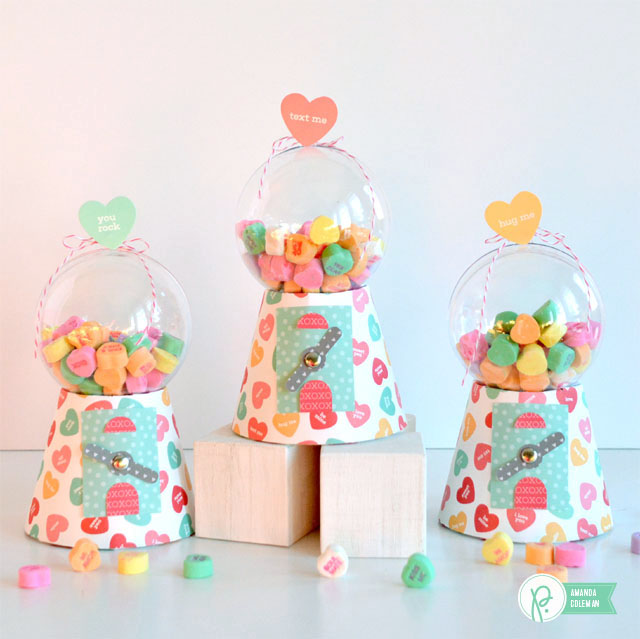 Candy Heart Gumball Machine by @popperandmimi using We Go Together papers from @pebblesinc