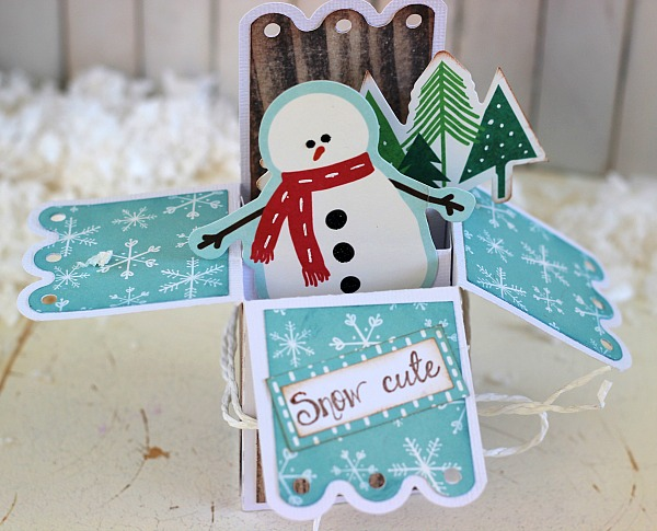 Snow Cute card made from @pebblesinc Home + Made collection, Home for Christmas collection and @silhouetteamerica by @ribbonsandglu