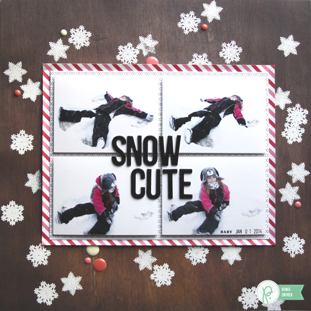 Making snow angels with this Snow Cute layout by @Renee Zwirek using the #HappyDay and #WeGoTogether collections by @PebblesInc.