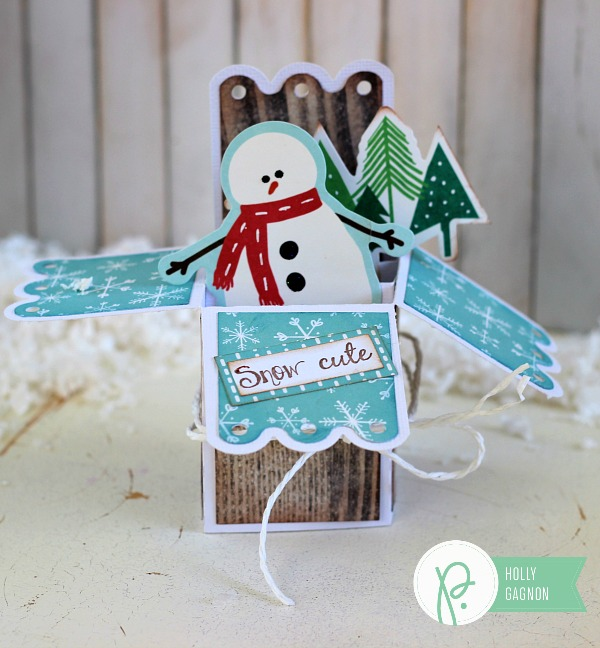 Snow Cute card made with @pebblesinc Home + Made and Home for Christmas collections and @silhouetteamerica by @ribbonsandglue