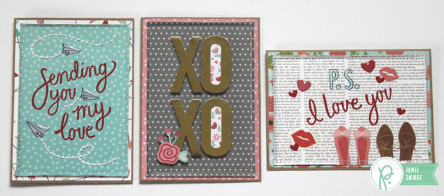Hugs & Kisses cards by @Renee Zwirek using the #HappyDay and #WeGoTogether collections by @PebblesInc.