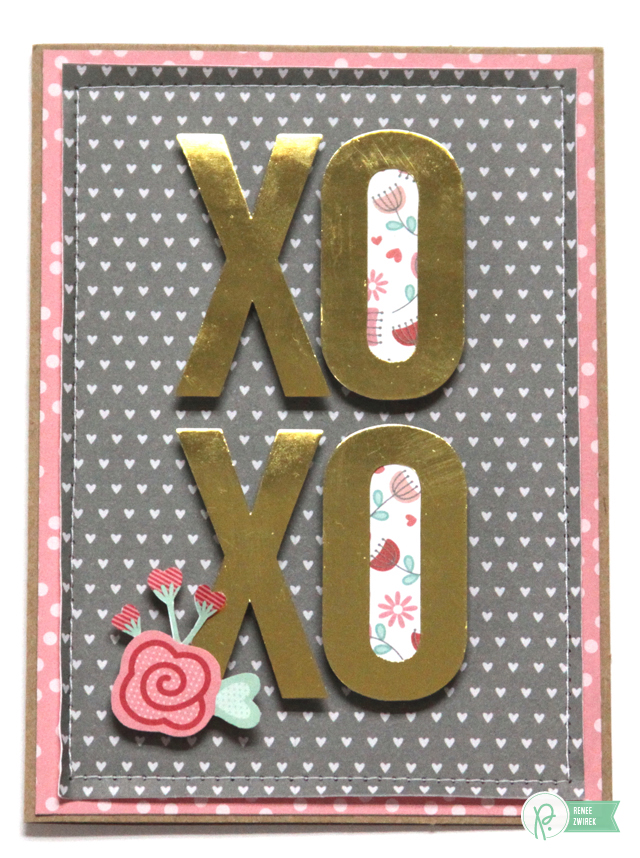 XOXO card by @Renee Zwirek using the #JHHomeMade and #WeGoTogether collection by @PebblesInc.