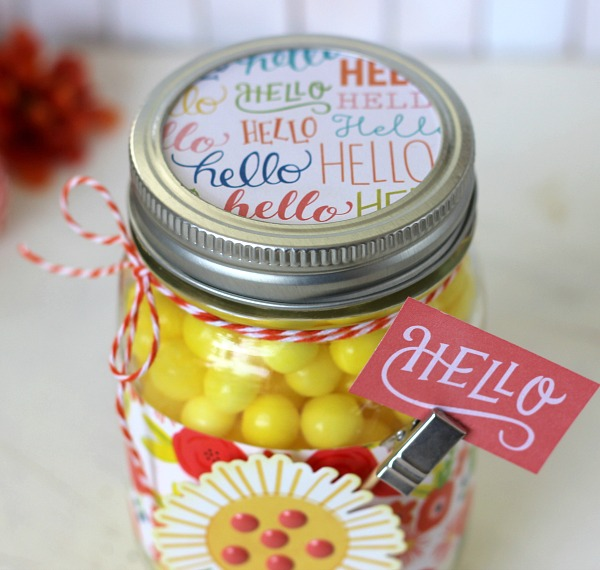 Jar of Sunshine made with @pebblesinc Happy Day collection by @ribbonsandglue