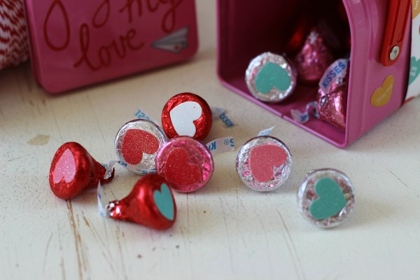 Choclate Kisses embellsihed with glitter hearts from the @pebblesinc We Go Together collection by @ribbonsandglue