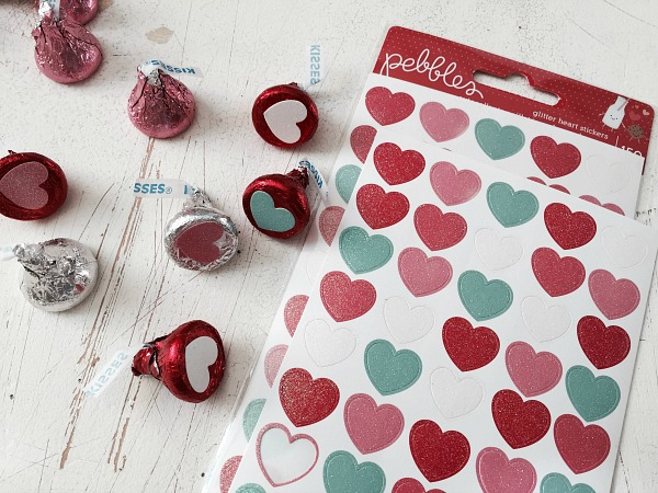 Glitter Heart Stickers on chocolate kisses from @pebblesinc by @ribbonsandglue