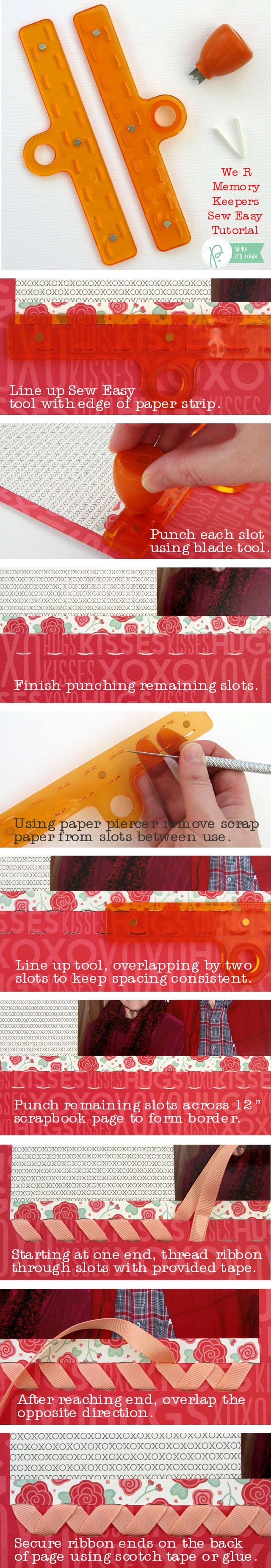 We R Memory Keepers Sew Ribbon Tutorial by Mendi Yoshikawa using #WeGoTogether collection from @PebblesInc. @SnippetsByMendi