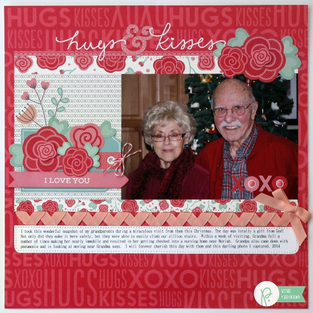 Hugs & Kisses Valentine's Day Layout by Mendi Yoshikawa using #WeGoTogether collection from @PebblesInc. @SnippetsByMendi