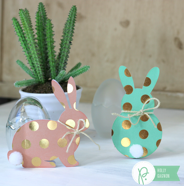 Gold Polka Dot Bunny Cards made with @pebblesinc cottage living collection and @silhouettepins by @ribbonsandglue