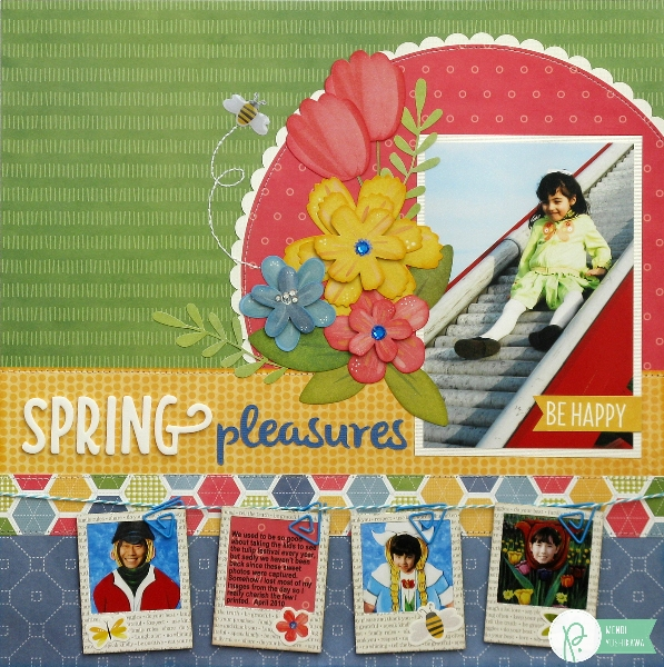 Spring Blossoms Layout by Mendi Yoshikawa using the #HomeGrown collection from @PebblesInc. @SnippetsByMendi