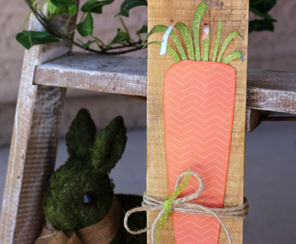 Spring Carrot Decor made with @pebblesinc Happy Day collection by @ribbonsandglue