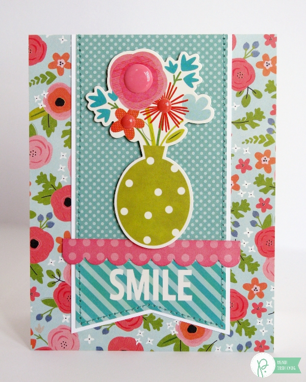 Smile Spring Bouquet Card by Mendi Yoshikawa using Phrase Stickers & the #HappyDay collection from @PebblesInc. @SnippetsByMendi