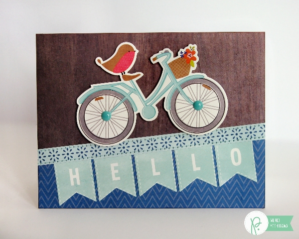 Hello Bicycle Card by Mendi Yoshikawa using Phrase Stickers & the #HappyDay collection from @PebblesInc. @SnippetsByMendi