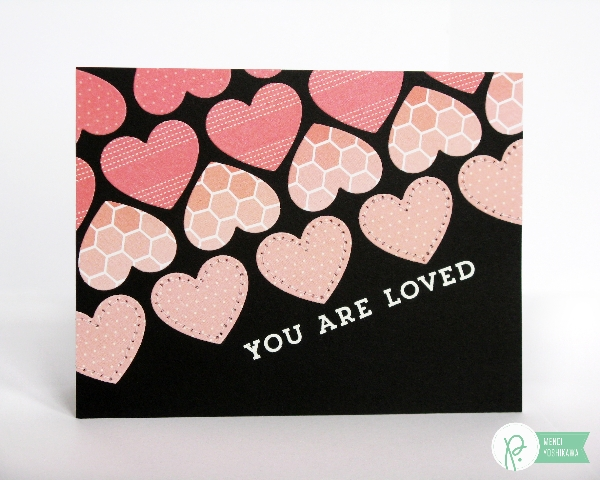 Heart die-cut card by Mendi Yoshikawa using the #CottageLiving collection from @PebblesInc. @SnippetsByMendi