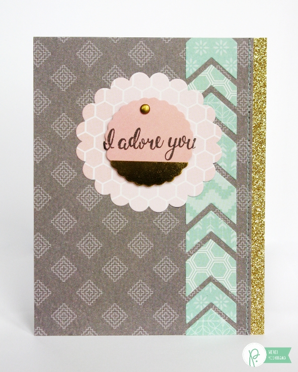 Chevron Die-cut card by Mendi Yoshikawa using the #CottageLiving collection from @PebblesInc. @SnippetsByMendi