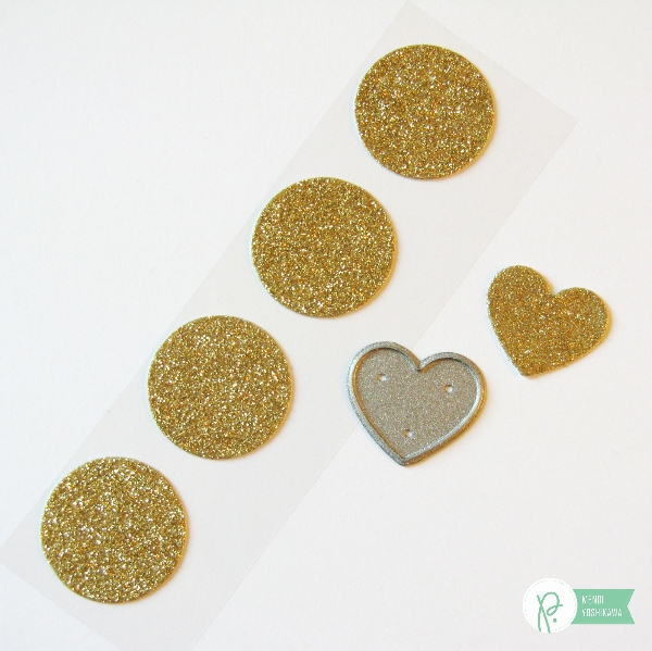 Diecut hearts from Glitter Stickers by Mendi Yoshikawa using #CottageLiving collection from @PebblesInc. @SnippetsByMendi