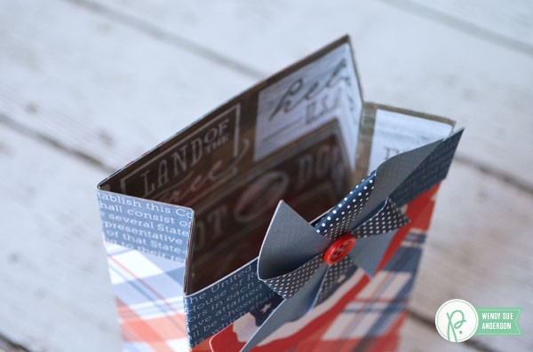 "Red White and Blue Gift Bags by @wendysuea with the ""Americana"" Collection by @pebblesinc."