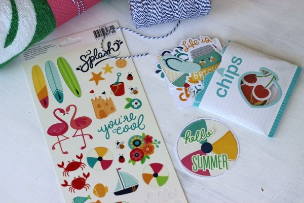 Fun in the Sun cardstock Chips and stickers by @pebblesinc