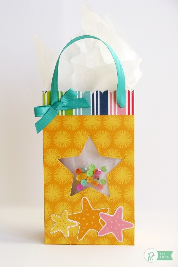 Summer Shaker Starfish Gift Bag by Mendi Yoshikawa using the #FunInTheSun collection by @PebblesInc. @SnippetsByMendi