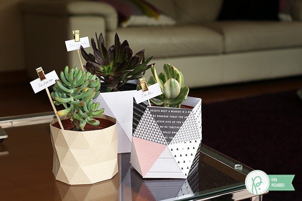 Geometric Planters made by @evapizarrov using the #CottageLiving line from @tatertotsjello and the #TriangleScoreGuide by @WeRMemoryKeeper