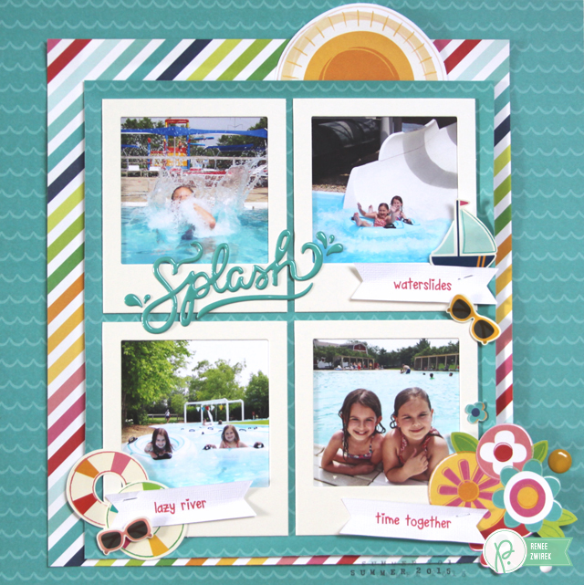 Enjoy some pool time with this Splash layout by @reneezwirek using the #FunInTheSun and #HappyDay collections by @Pebbles Inc.