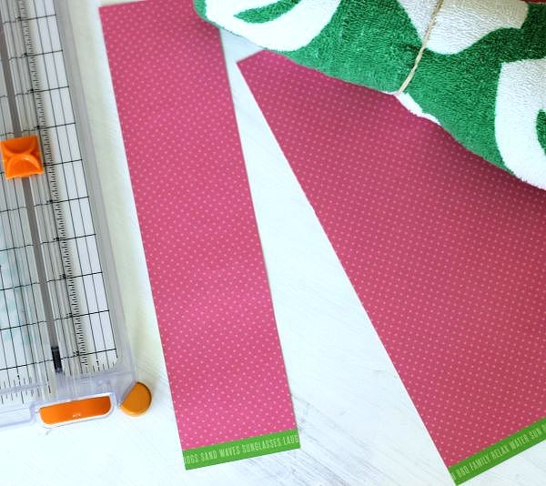 Simple Beach Towel Party Favors made with scrapbooking paper belly band