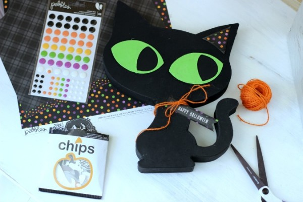Halloween Black Cat embellished with the @pebblesinc Boo! collection