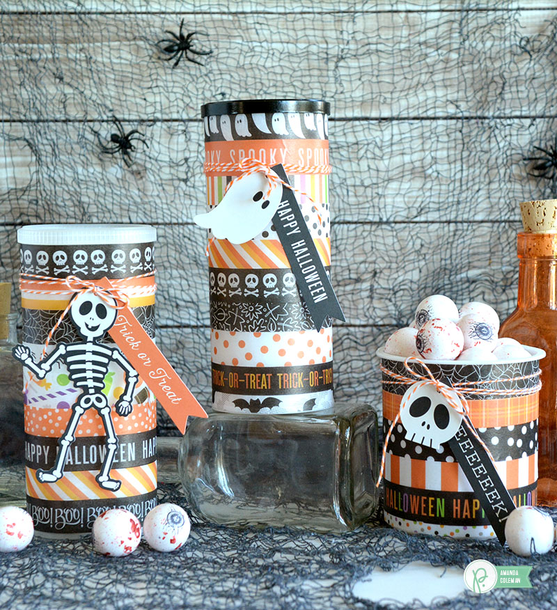 Washi Tape Halloween treat containers by @amanda_coleman1 using @pebblesinc BOO! collection