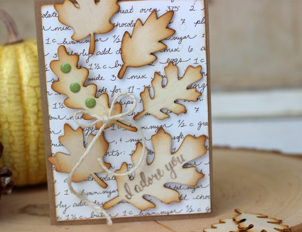 Fall Leaves Card made with @pebblesinc Harvest wood veneer leaves by @ribbonsandglue