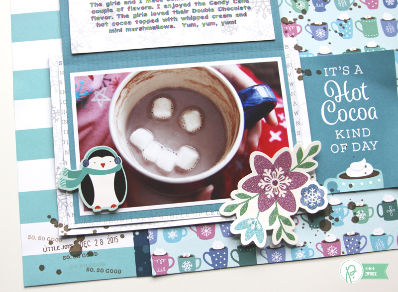 Warming up the winter with this Hot Cocoa Layout by @reneezwirek using the #WinterWonderland collection by @PebblesInc.