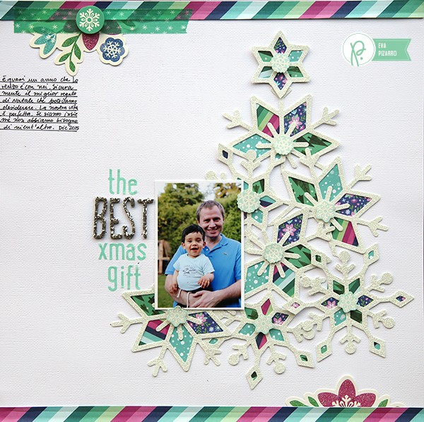 Beautiful Christmas layout by @evapizarrov using the new #WinterWonderland line by @pebblesinc