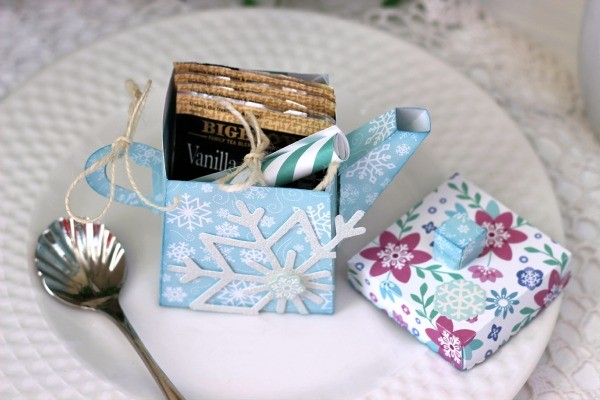 Warming note inside Teapot Gift made with @pebblesinc Winter Wonderland collection and a @silhouetteamerica cut file created by @ribbonsandglue