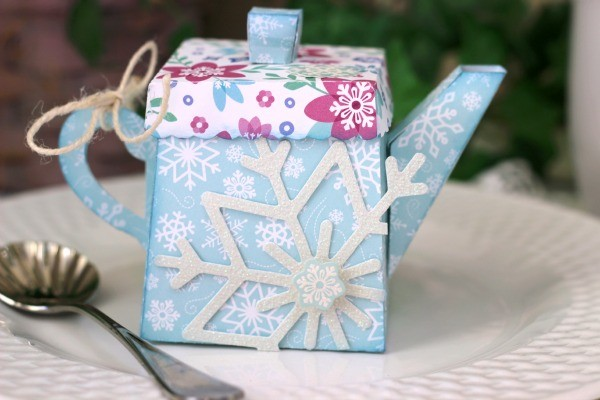 Winter Teapot Gift made with @pebblesinc Winter Wonderland collection and a @silhouetteamerica cut file created by @ribbonsandglue