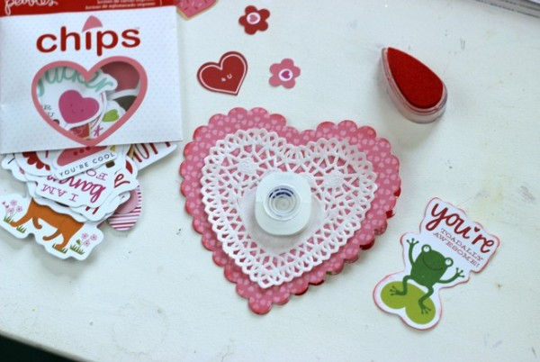 Heart Valentines Card with action wobble in undenearth @pebblesinc Be Mine cardstock shapes