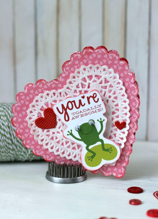 Frog Valentine Card made with Silhouette and @pebblesinc Be Mine collection by @ribbonsandglue