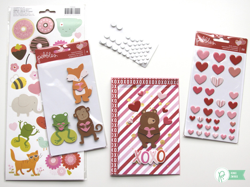 Happy Valentine's Day cards by @reneezwirek using the #BeMine collection by @PebblesInc.