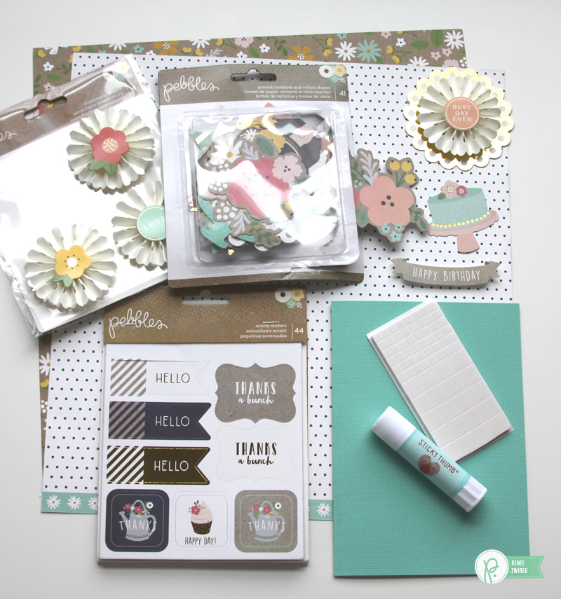 Birthday Cards by @reneezwirek using the #SpringFling collection by @pebblesinc