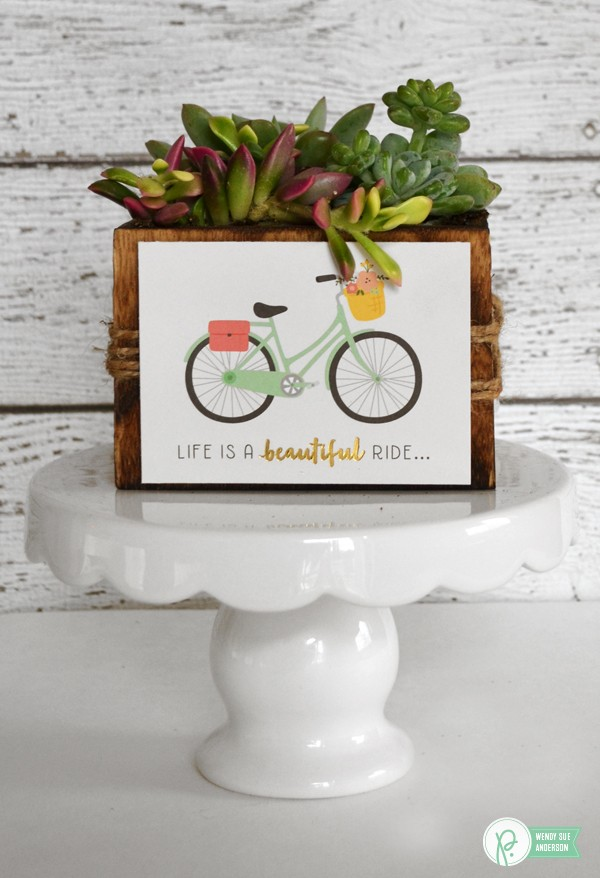 "quick spring gift by @wendysue featuring the ""Spring Fling"" collection, Homemade recipe box by @pebblesinc - and don't forget the gorgeous succulents!"