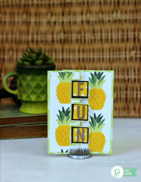 Pineapple Fun Swing Card made with @pebblesinc Everyday collection by @jenhadfield. Card created by @ribbonsandglue