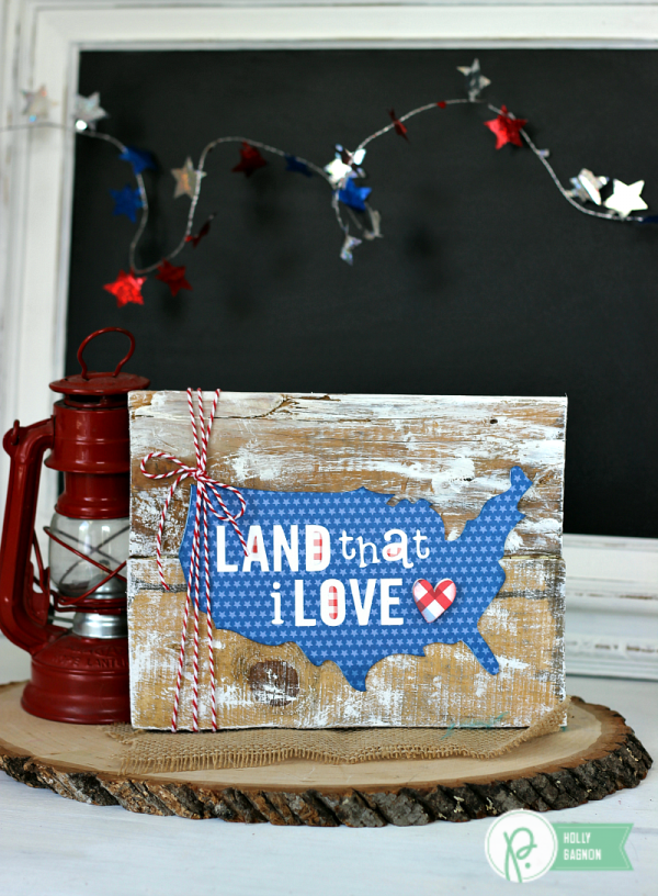 Patriotic Pallet Sign created by @ribbonsandglue using the @pebblesinc America the Beautiful collection