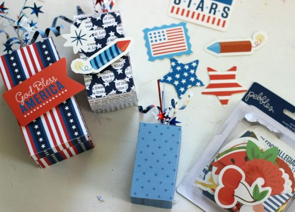 Firecracker Boxes made with @pebblesinc America the Beautiful collection