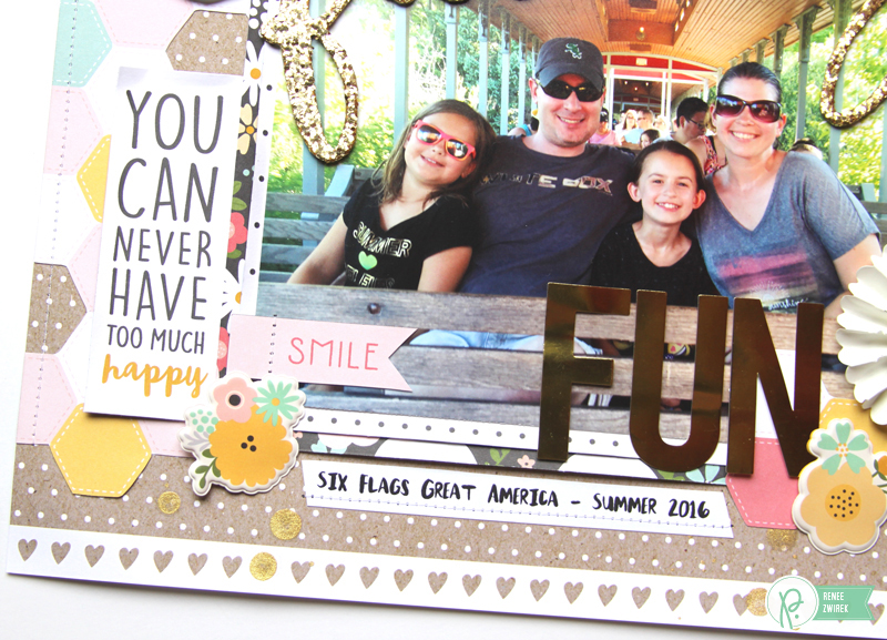 Have fun with a big title like this Family Fun layout by @reneezwirek using the #SpringFling collection by @pebblesinc