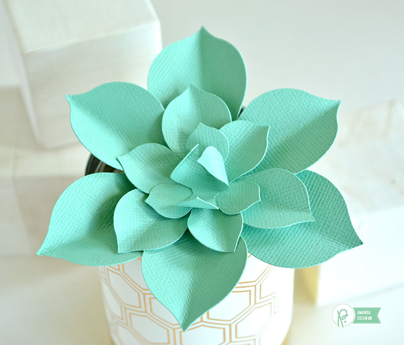 Paper Succulents in Upcycled Containers by @amanda_coleman1 using @pebblesinc Gold Foiled Papers